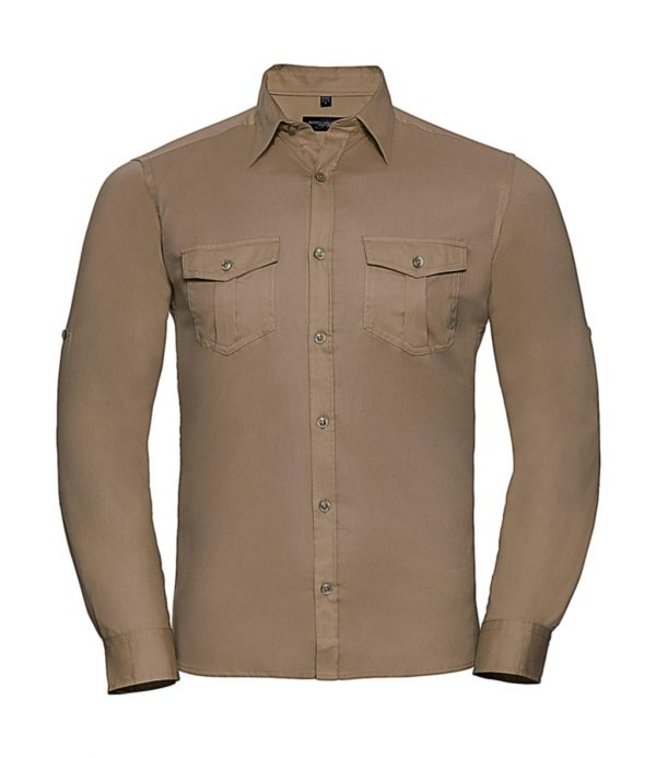 Chemise homme Russell à manches longues Beige