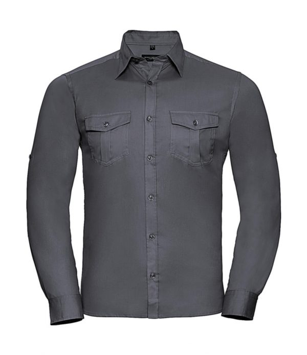 Chemise homme Russell à manches longues Gris