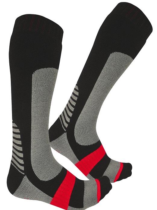 Chaussettes techniques hiver Singer Cluse Noir-gris-rouge