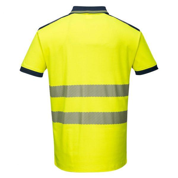 Polo haute visibilité manches courtes Portwest jaune bleu marine