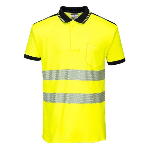 Polo haute visibilité manches courtes Portwest jaune noir