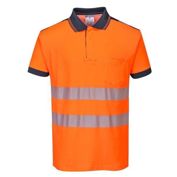 Polo haute visibilité manches courtes Portwest orange bleu marine