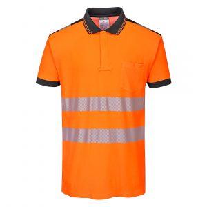 Polo haute visibilité manches courtes Portwest orange noir