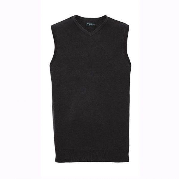 Pull tricoté Russell col V sans manches Noir