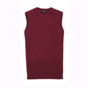 Pull tricoté Russell col V sans manches Rouge fonce
