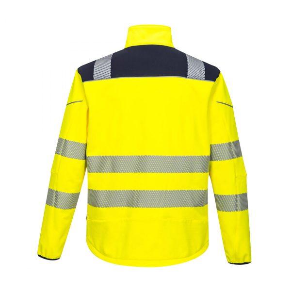 Softshell Portwest haute visibilité PW3 jaune bleu marine