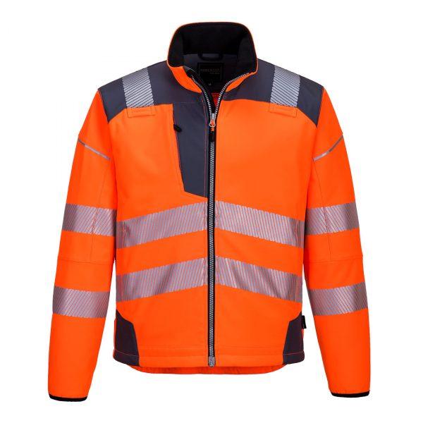 Softshell Portwest haute visibilité PW3 orange gris