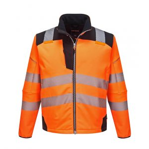 Softshell Portwest haute visibilité PW3 orange noir