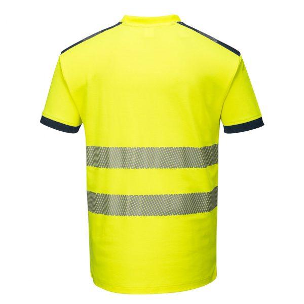 T-shirt manches courtes haute visibilité Portwest jaune bleu marine