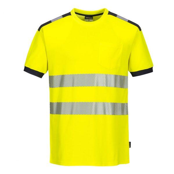 T-shirt manches courtes haute visibilité Portwest jaune gris