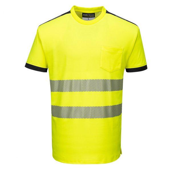 T-shirt manches courtes haute visibilité Portwest jaune noir