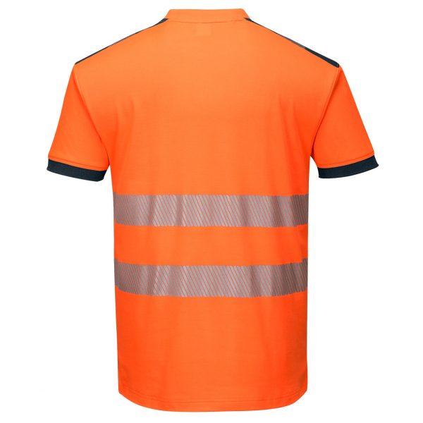T-shirt manches courtes haute visibilité Portwest orange bleu marine
