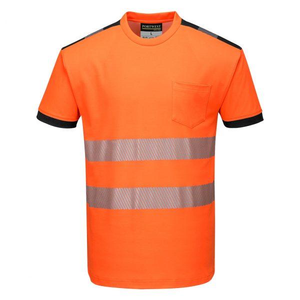 T-shirt manches courtes haute visibilité Portwest orange noir
