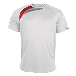 t-shirt proact Blanc-rouge-gris