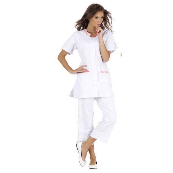 Tunique Femme Hasson Lalie à manches courtes Blanc-rose-fleurs