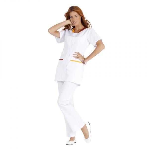 Tunique Femme Hasson Lalie à manches courtes Blanc-rusty-melon