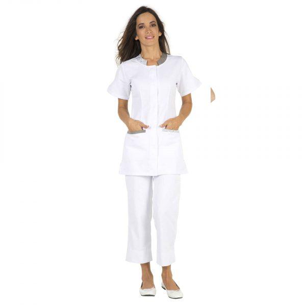 Tunique Femme Hasson Lalie à manches courtes Blanc-taupe-fleurs