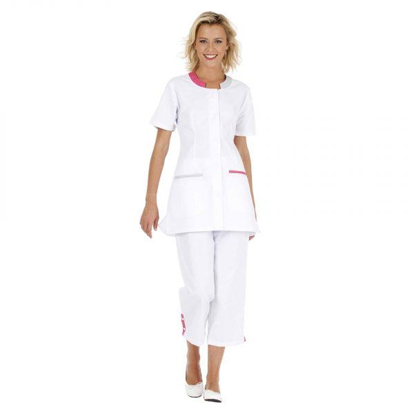 Tunique Femme Hasson Lalie à manches courtes Blanc-gris-framboise
