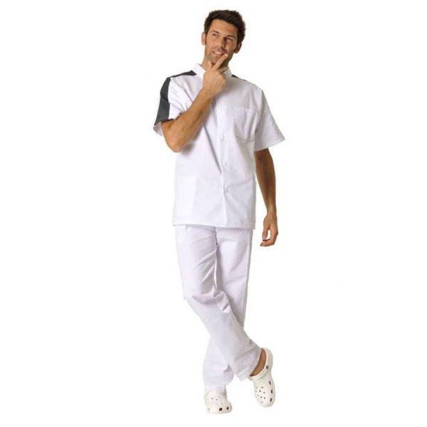 Tunique Homme Hasson Steeve à manches courtes Blanc Charbon