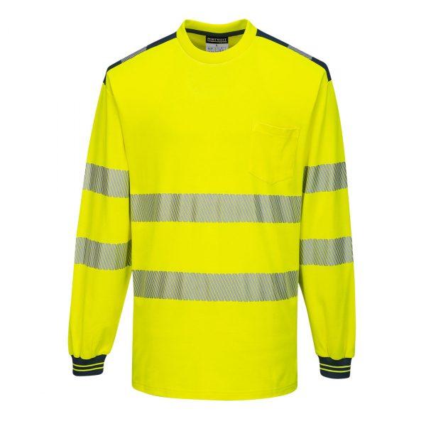 T-shirt manches longues haute visibilité Portwest jaune bleu marine
