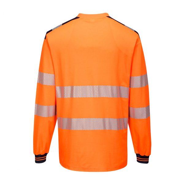 T-shirt manches longues haute visibilité Portwest orange bleu marine