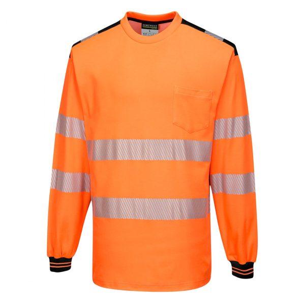 T-shirt manches longues haute visibilité Portwest orange noir