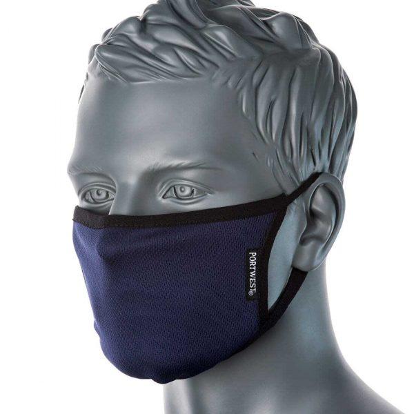 Masque facial en tissu antimicrobien 3 plis Bleu