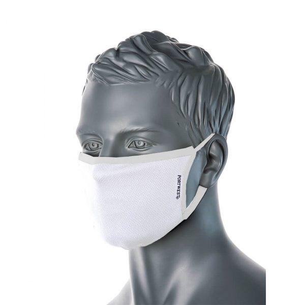 Masque facial en tissu antimicrobien 3 plis Blanc