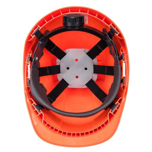 Casque Portwest Endurance avec porte-badge orange vue intérieure