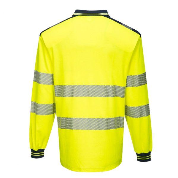 Polo haute visibilité manches longues Portwest jaune bleu marine