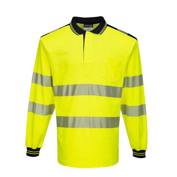Polo haute visibilité manches longues Portwest jaune noir