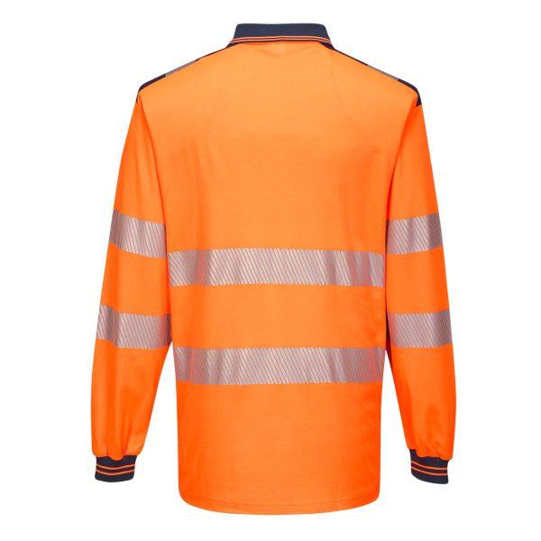 Polo haute visibilité manches longues Portwest orange bleu marine