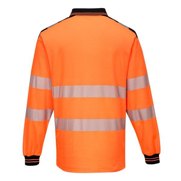 Polo haute visibilité manches longues Portwest orange noir