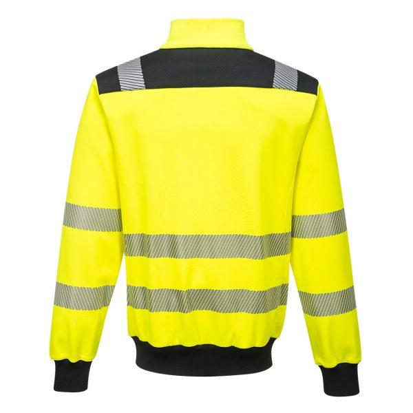 Sweatshirt zippé hv Portwest jaune dos