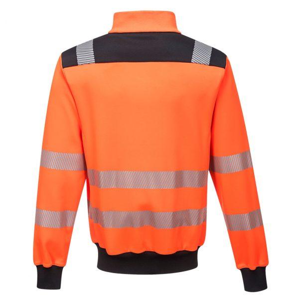 Sweatshirt zippé hv Portwest orange dos