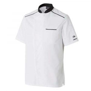 Veste de cuisine MOLINEL Néospirit Homme manches courtes blanc noir